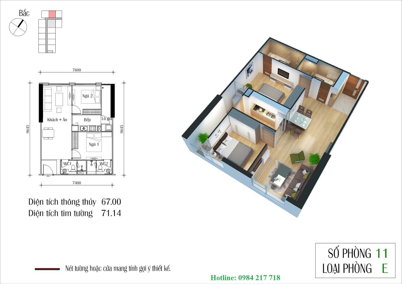thiết kế chi tiết Tòa ct1 căn hộ 2611A Dự án Eco Green City Nguyễn Xiển