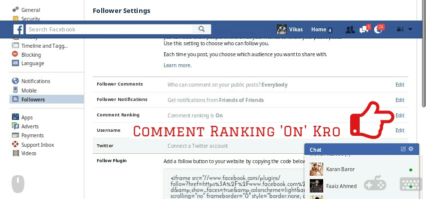 Enable VIP comment in FACEBOK - W3Getch