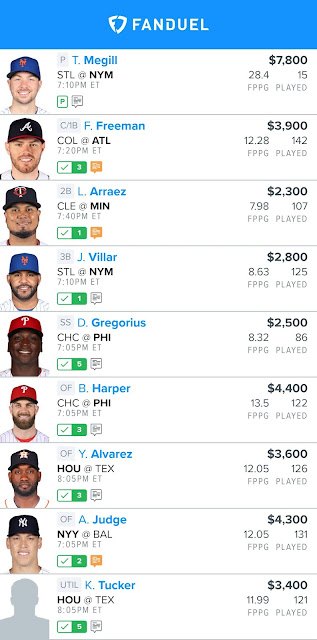 Free Fanduel MLB Lineup