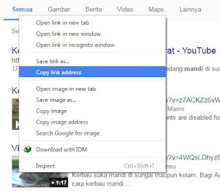 Melihat link video dengan cara copy link address lewat gambar preview (thumbnail) video youtube