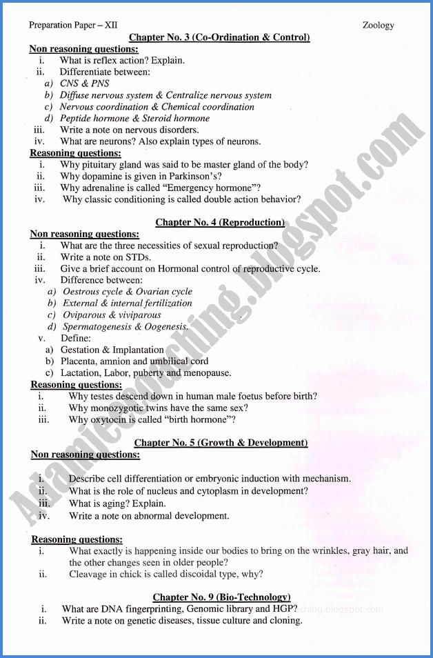 Adamjee Coaching: Zoology 12th - Adamjee Coaching Guess Paper 2019