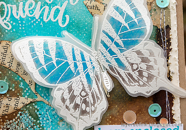 Layers of ink - Wax Paper Resist Video Tutorial by Anna-Karin Evaldsson. Vellum butterfly.