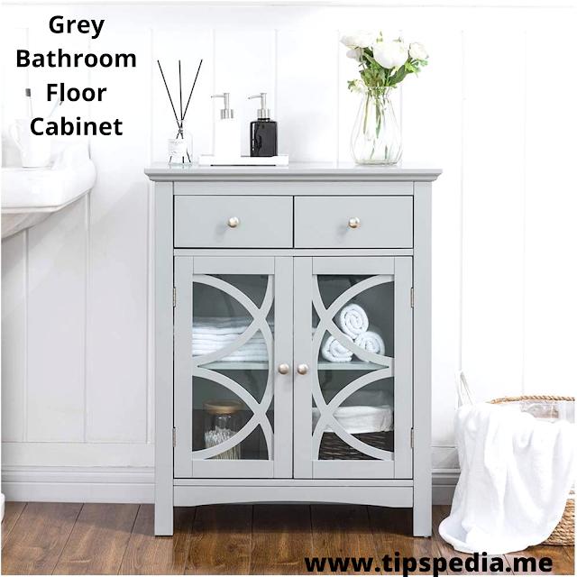 grey bathroom floor cabinet