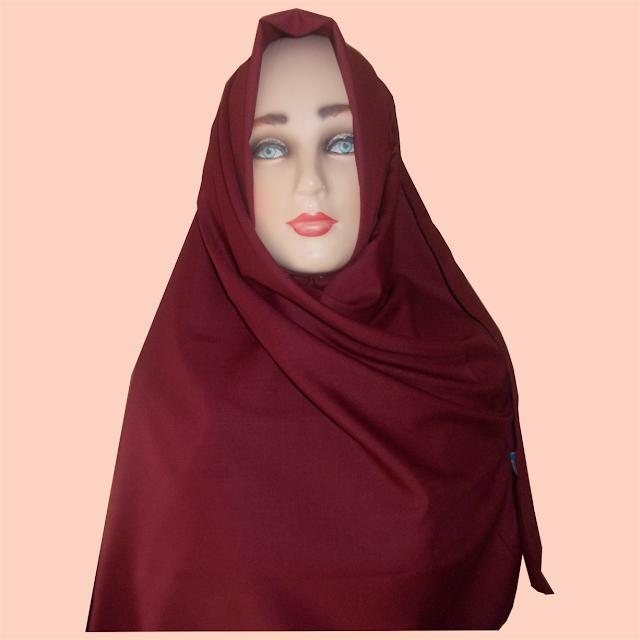 Model Pashmina Katun Jepang Warna Merah Cantik