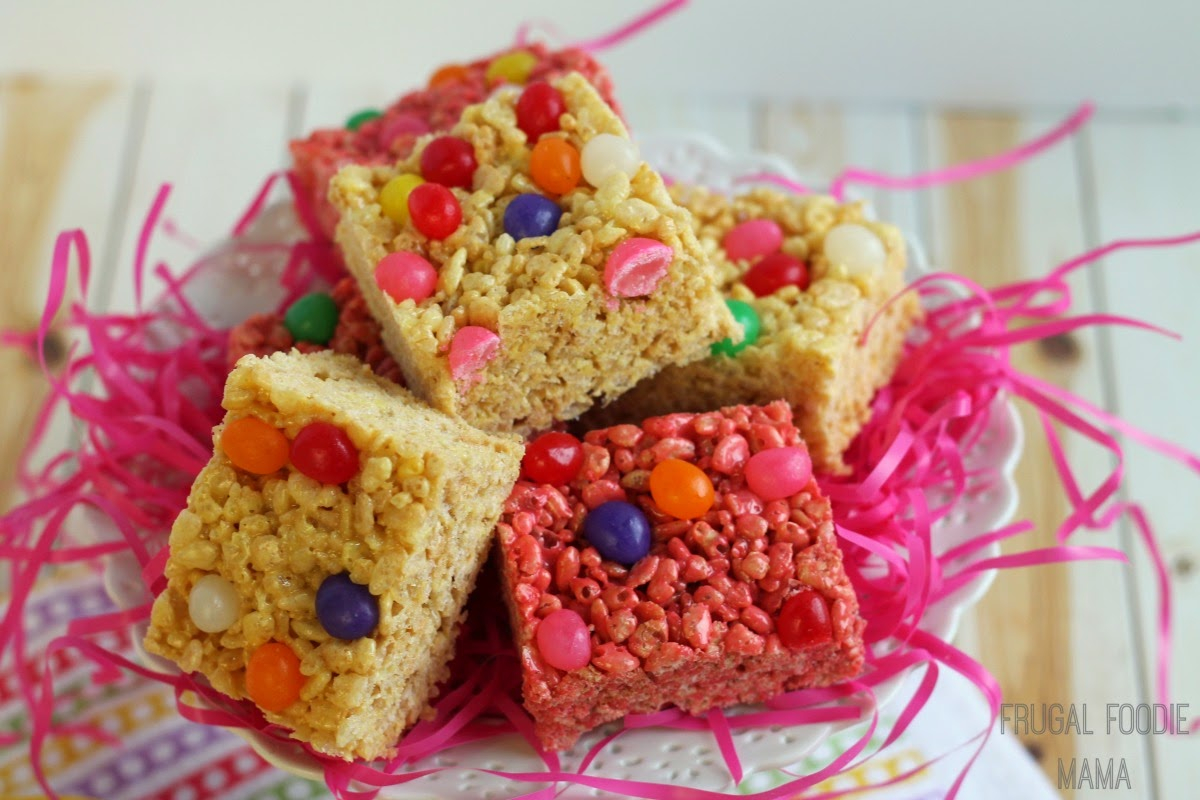These easy to make and colorful Jelly Bean Rice Krispies Treats combine two family loved classics into one perfect sweet treat for Easter or spring