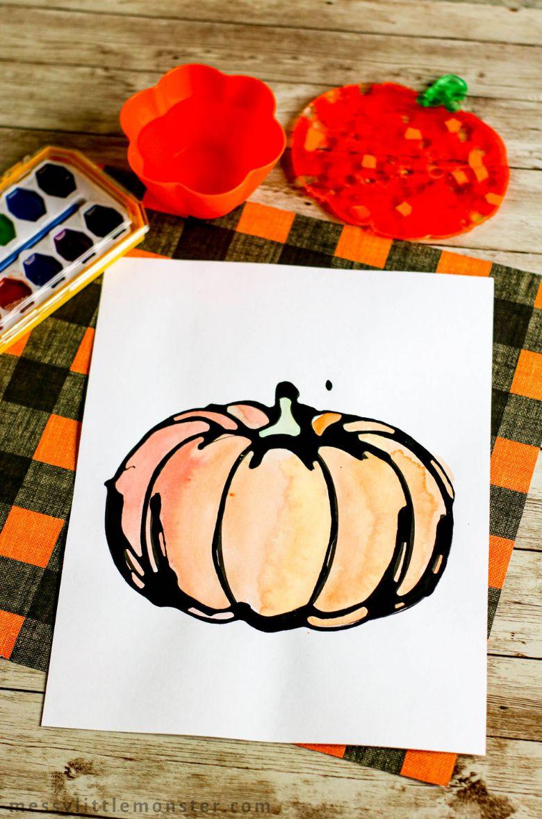 black glue pumpkin Thanksgiving craft for kids