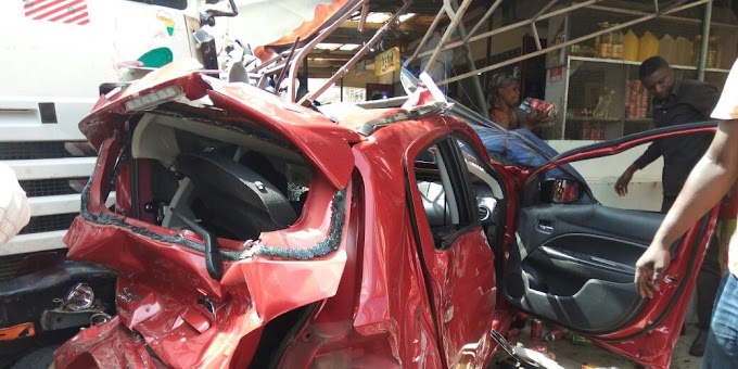 Photos: Articulated truck destroys 16 cars at Accra-Newtown