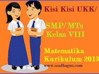 Kisi Kisi UKK Matematika Kelas 8 SMP/ Mts Kurikulum 2013