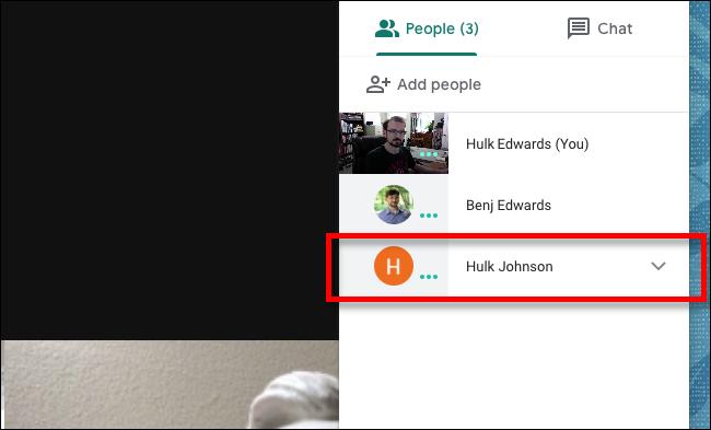 Google Meet انقر على الشخص الذي تريد تجاهله