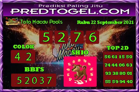 Pred Macau Rabu 22 September 2021