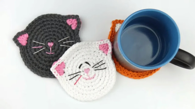 Portavasos de Gatitos a Crochet