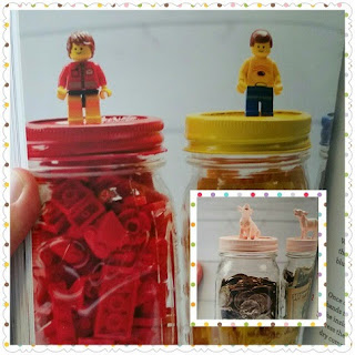 Mason Jar Crafts for Kids Lego and Bank jars
