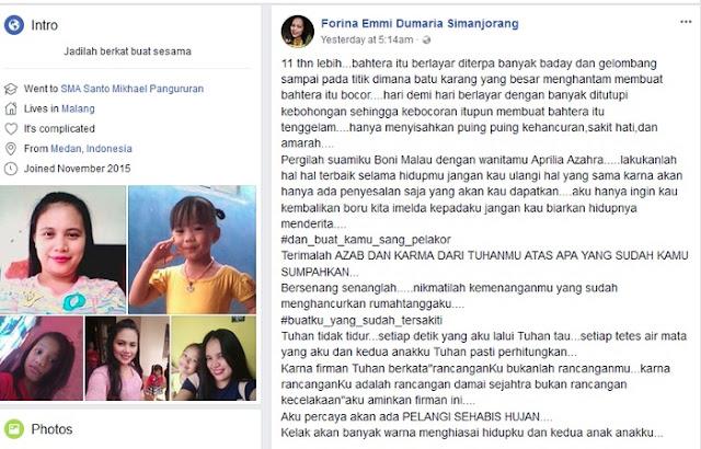 Curhatan Pedih Forina Simanjorang pada Pelakor dan Suami di FB Bikin Heboh