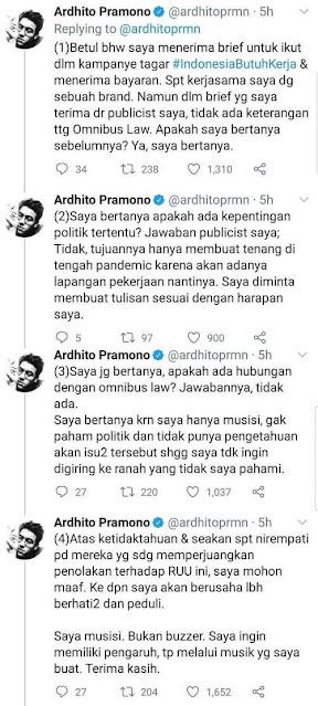 Musisi Ardhito Pramono mengakui menerima bayaran untuk mengangkat #IndonesiaButuhKerja