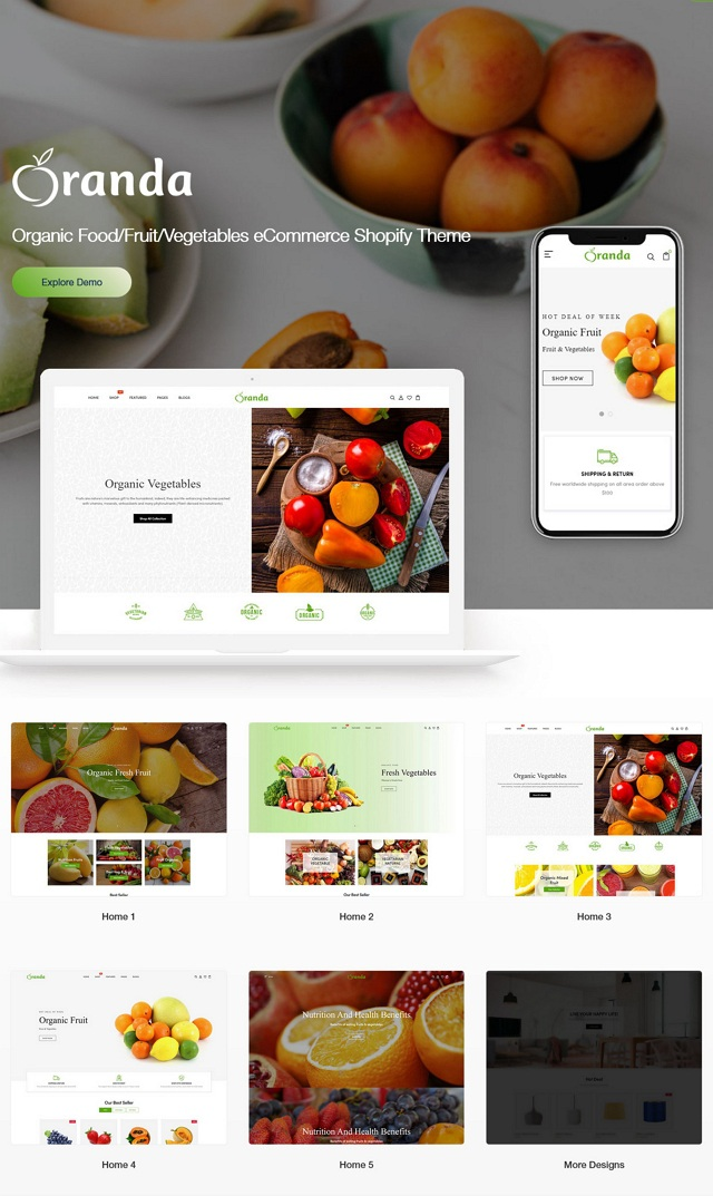 Organic Food Fruit Vegetables eCommerce Shopify Theme