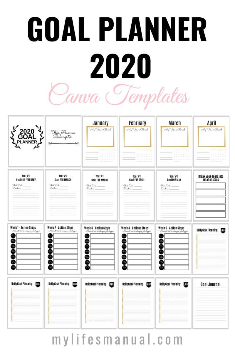 Create a Goal Planner 2020 Fast. Do you need a Goal Planner for your Blog and Biz but has no time to create? Maybe a Goal Planner is a good fit for your audience and you want to get them onto your email list but you have no idea how to get started. Grab my canva templates Goal Planner 2020. #canva #canvatemplates #goalplannertemplates #goaltemplates #blogging #makemoneyonline #onlinebusiness
