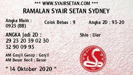 Syair Setan Sidney Rabu 14 Oktober 2020