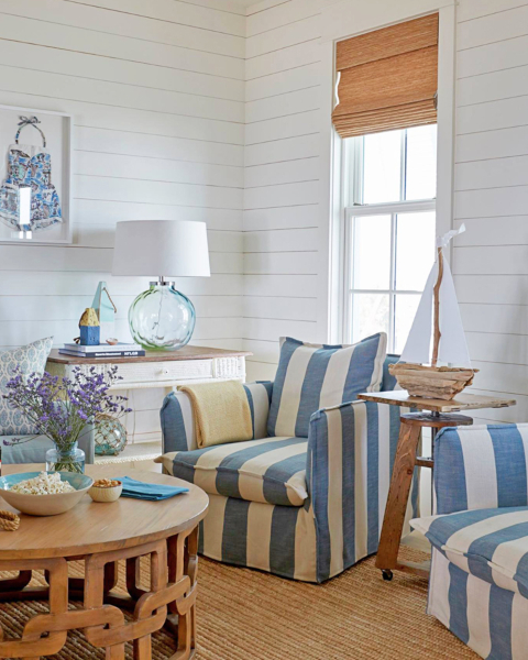 Slip Covered Accent Chairs Light Blue Cabana Stripes