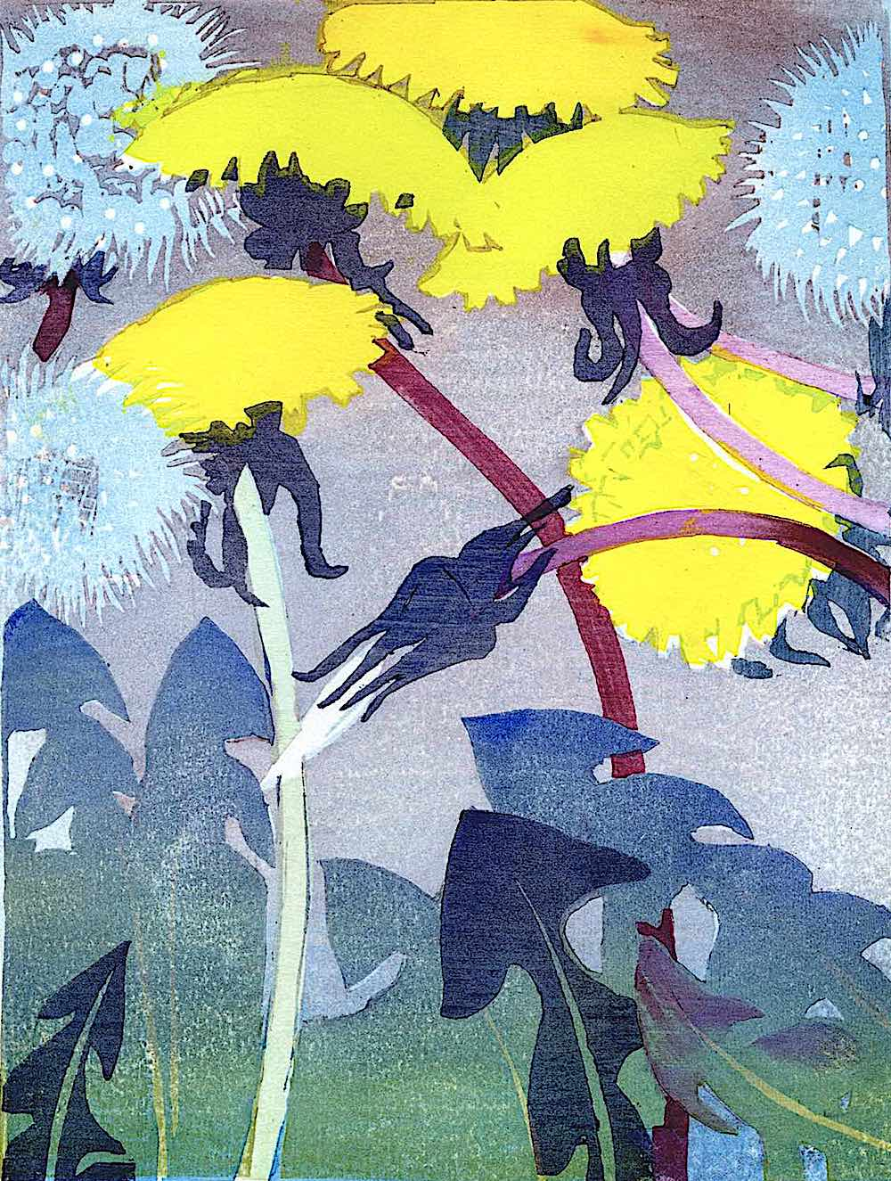 a Mabel Royds print of dandelions