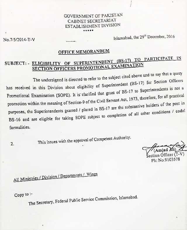 ELIGIBILITY OF SUPERINTENDENT (BS-17) TO PARTICIPATE IN SECTION OFFICERS PROMOTIONAL EXAMINATION
