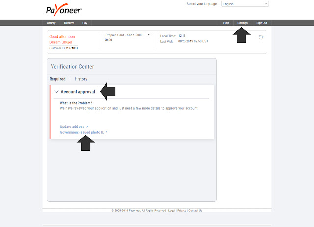 How to apply Payoneer master card from Nepal