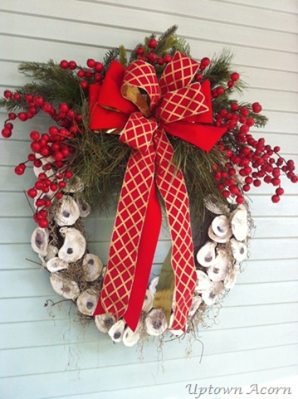 Oyster Shell Wreath Christmas Bow