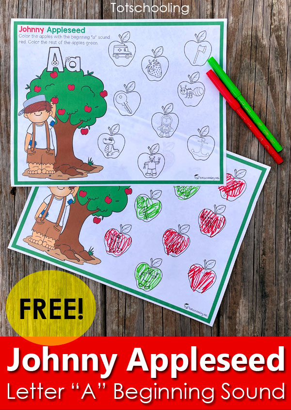 FREE Printable apple-themed beginning letter sounds activity, Letter A, for Johnny Appleseed Day.