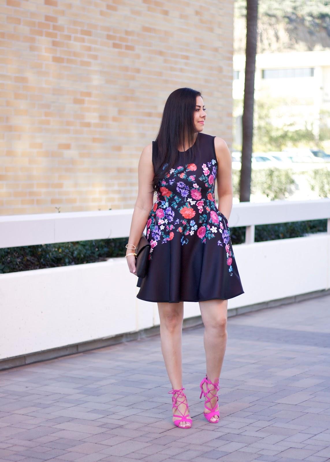 San Diego Spring Fashion, hot pink lace up heels, chicwish blogger, brunette blogger, latina fashion