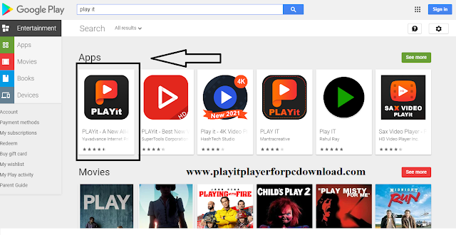 Play Store application and find the PLAYitapplication