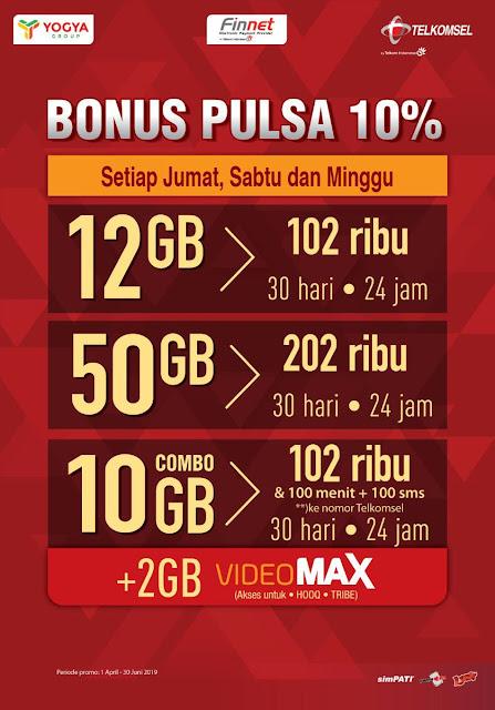 #Yogya #Griya - #Promo Bonus Pulsa 10% Setiap Beli Paket Data Telkomsel (s.d 30 Juni 2019)