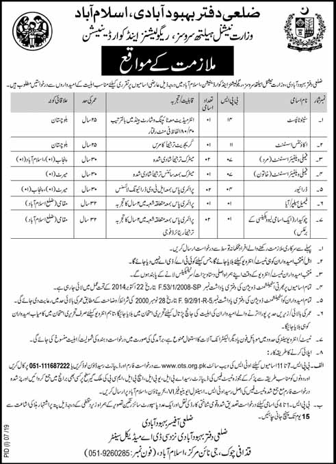 Population Welfare Department Latest Jobs July 2019