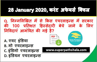 Daily Current Affairs Quiz in Hindi 28 January 2020