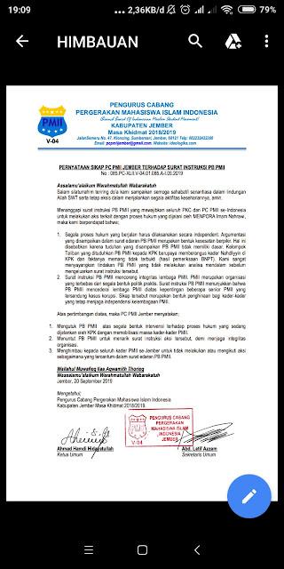 Pernyataan sikap resmi PC PMII Jember yang mengecam instruksi PB PMII