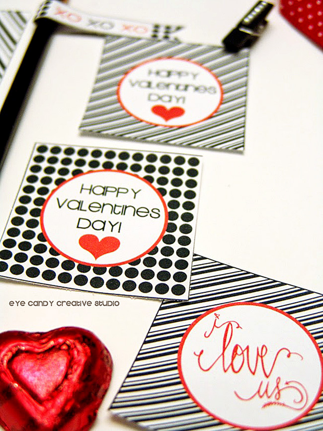 free valentines download, polka dots, black & white, hand lettering