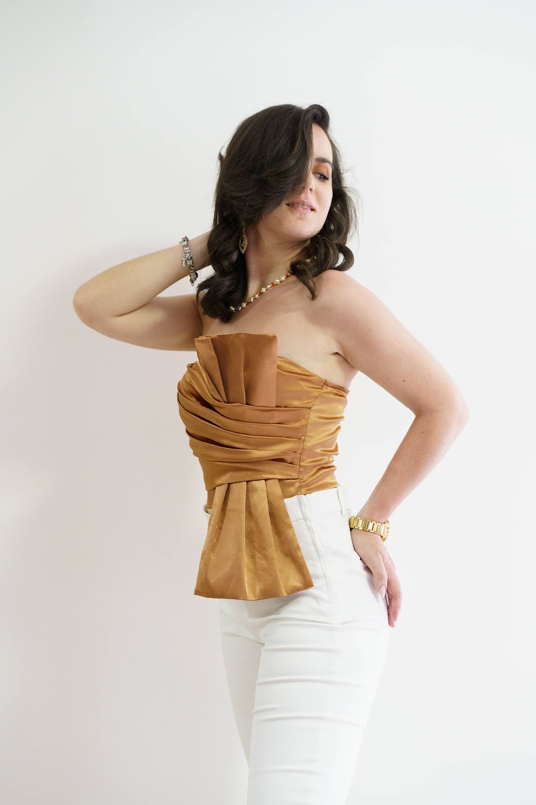 Brown Satin Pleated Strapless Bodysuit