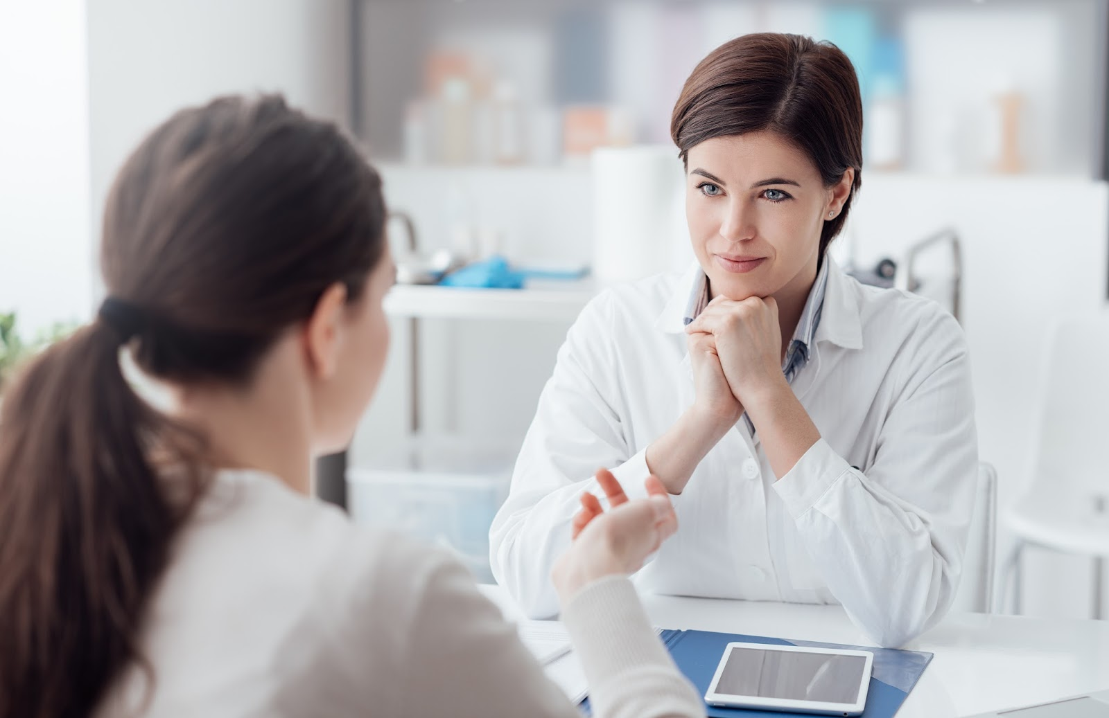 Patient consults with her doctor