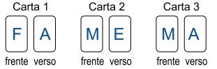 FAMEMA 2021: A figura indica as marcações na frente e no verso de três cartas: