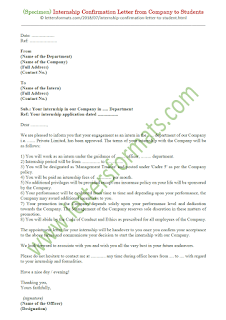 internship confirmation letter format from company to students
