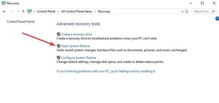 إصلاح لصق النسخ لا يعمل استرداد لوحة تحكم Windows ، افتح استعادة النظام
