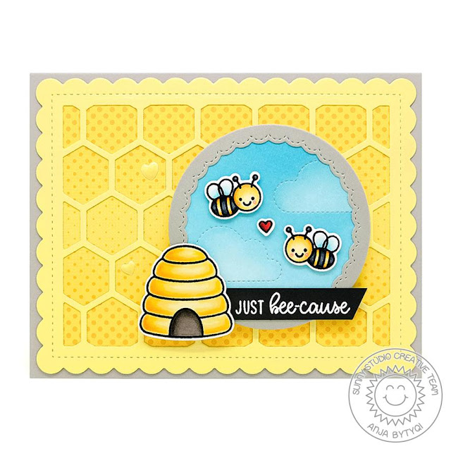 Sunny Studio Stamps: Just Bee-cause Fluffy Clouds Frilly Frame Dies Fancy Frame Dies Just Because Card by Anja Bytyqi