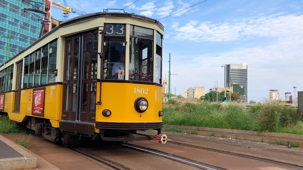 Iconic Classic Tram in Milan for passengers and commuters