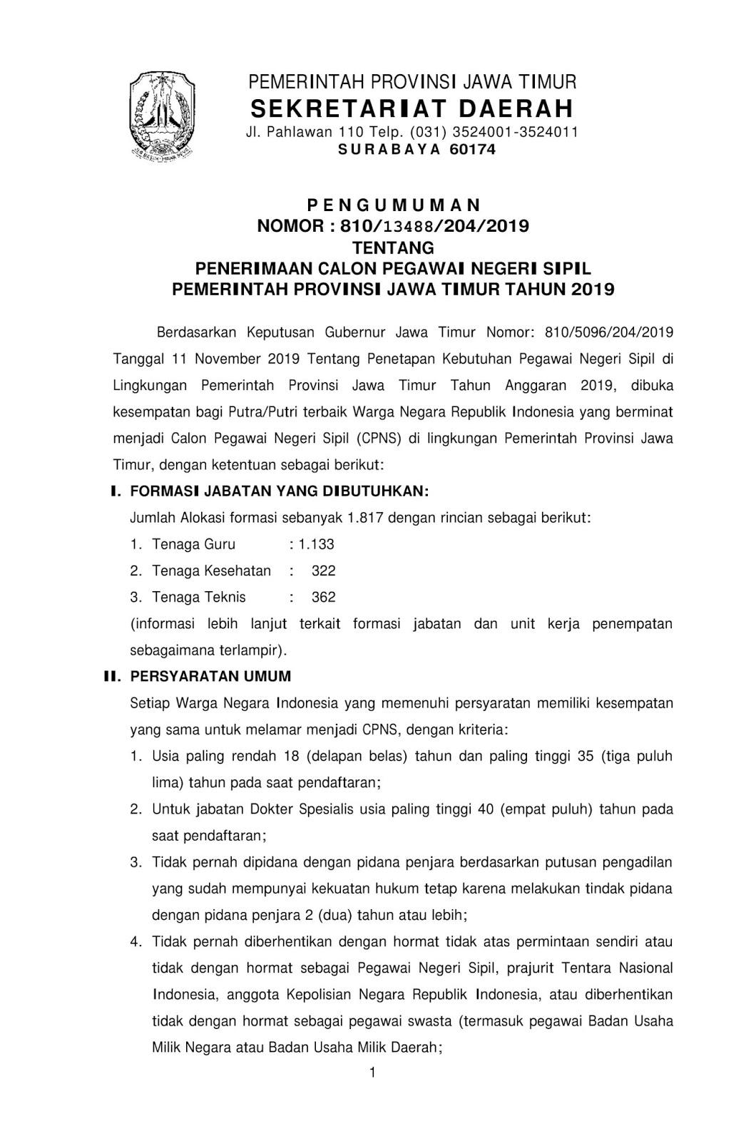 Penerimaan CPNS Pemprov Jawa Timur Tahun 2019 [1.817 Formasi]