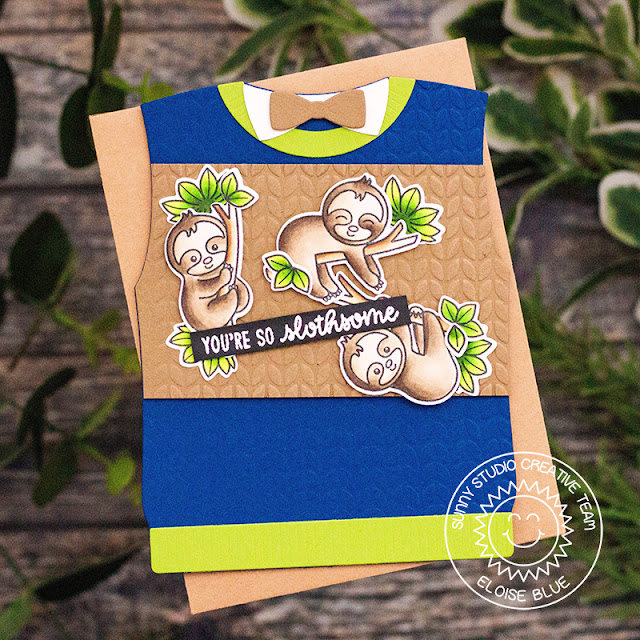 Sunny Studio Stamps: Sweater Vest Dies Silly Sloths Loopy Letters Dies Team Player Happy Thoughts Shaped Cards by Eloise Blue and Leanne West