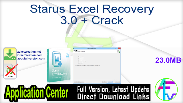 Starus Excel Recovery 3.0 + Crack