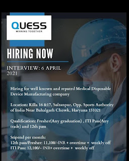 Hiring 12th Pass, Any Graduates And ITI All Trades For Medical Disposable Device Manufacturing Company Sultanpur, Near Bahalgarh Chowk, Haryana