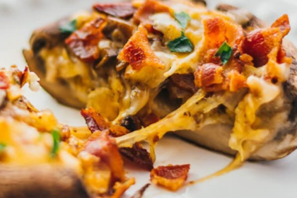 Stuffed Portobello Mushrooms With Bacon And Cheddar