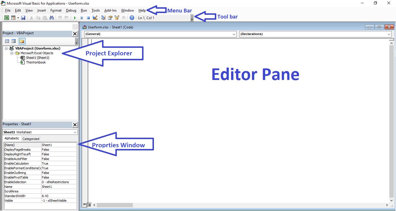 Tutorial 3. Excel VBA userform Part 1   VBA Userform Properties   excel data entry form vba  