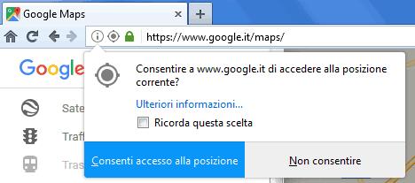 Firefox notifica richiesta accesso alla posizione geografica