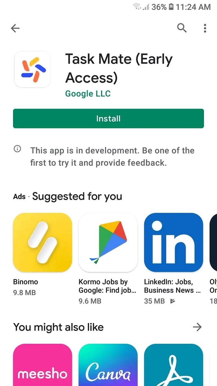 Download Google task mate app