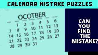 In these IQ Test Picture Puzzles, your challenge is to find the mistake in the given calendar puzzle images